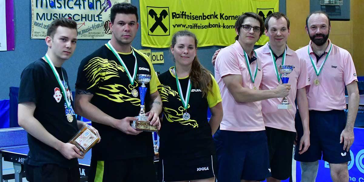WTTV-Cup 2018 LSV gewinnt den B-Cup v.l.n.r.: Rüdiger Korkisch , Thomas Loidl, Nina Korkisch (Persil) und Philipp Huemer, Luksas Gotthart, Martin Ögg (LSV) | (c) Werner Gschanes